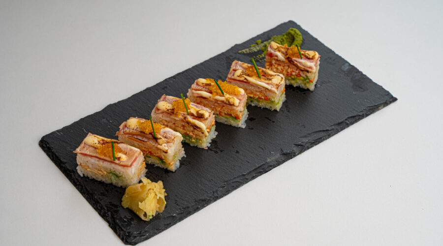 Tuna with Spicy Crab Pressed Sushi